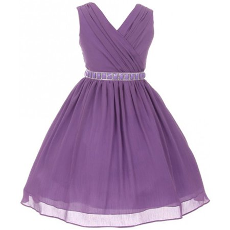 Little Girls Dress Sleeveless V Neck Cross Body Chiffon Party Flower Girl Dress Lilac Size 4 (M37BK1)