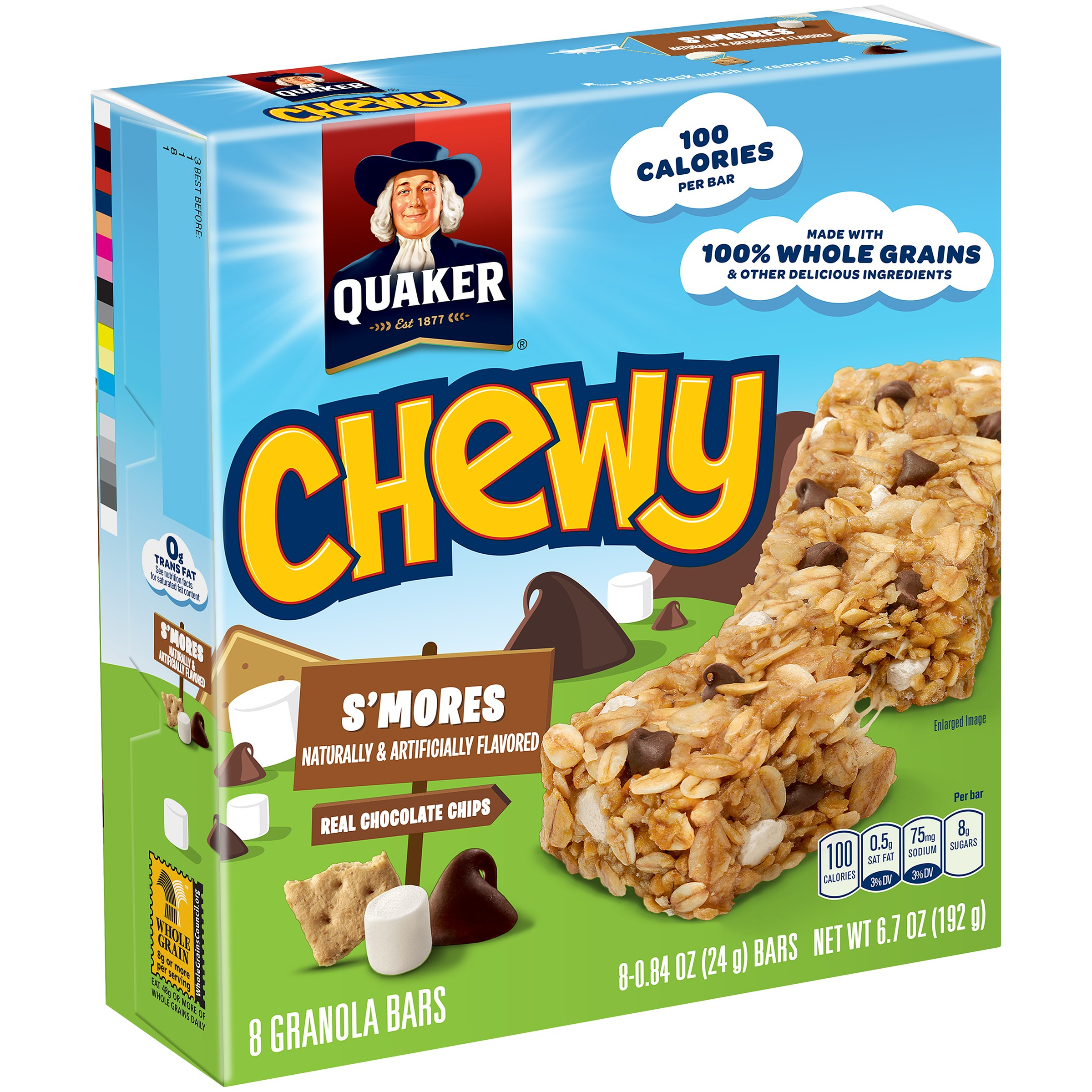 Quaker Chewy Granola Bars, S'mores, 0.84 oz Bars, 8 count