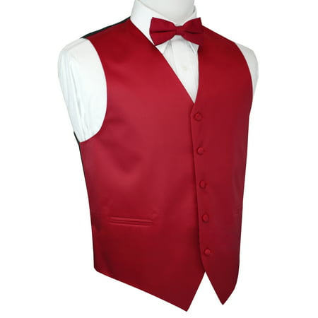 Italian Design, Men's Tuxedo Vest, Bow-tie - Red