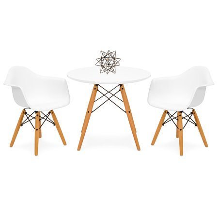 Best Choice Products Kids Mid-Century Modern Mini Eames Style Multifunctional Round Table Set for Bedroom, Playroom, Dining Room w/ 2 Wood Leg Chairs, (Best Kids Table And Chair Set)