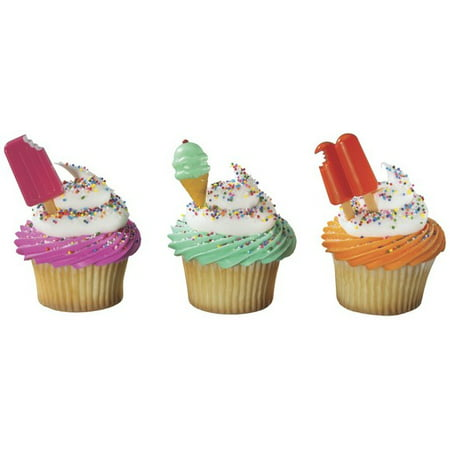Cool Treat Assortment Popsicle Ice Cream Bar Ice Cream Cone Summer -24pk Cupcake / Desert / Food Decoration Topper Picks with Favor Stickers & Sparkle Flakes (Halloween Ice Cream Cone Cakes)