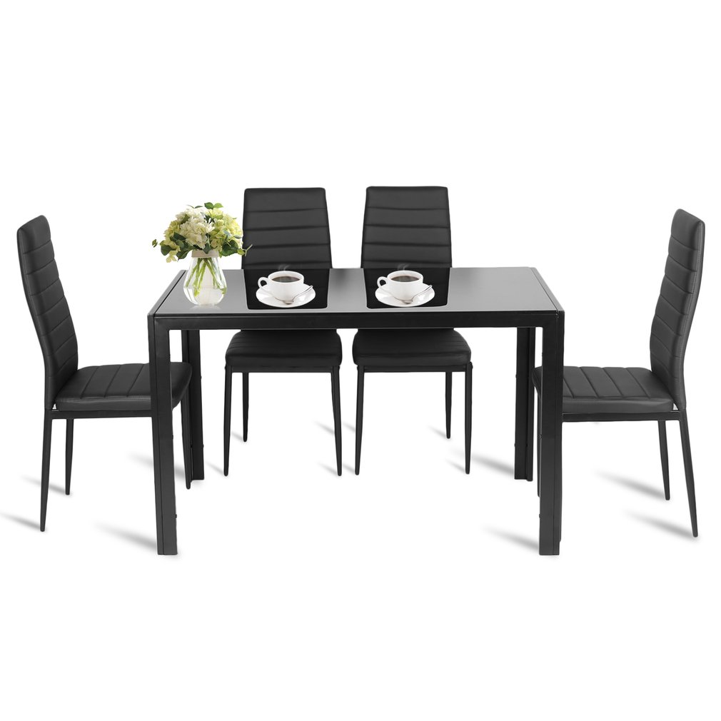 5 Piece Modern Dining Table Set Rectangular Glass Metal Chairs Table Kit Durable