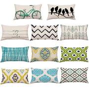 Cheers Bike Bird Geometric Pattern Throw Pillow Case Cushion Cover Sofa Bed Car Decor