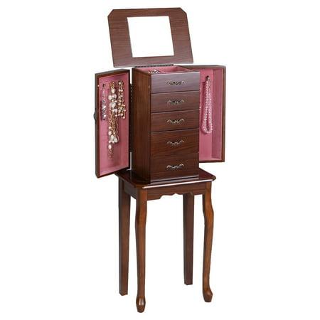 Mirrored Lid - GHP Walnut Stand Organizer Armoire Jewelry Cabinet Storage w Top Lid Mirror
