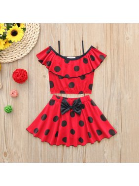 Iuhan Toddler Baby Girl Swimwear Dot Bow Swimsuit Bathing Beach Ruffle Outfits Set