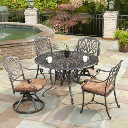 Charcoal Patio Post Mount Barbecue - Home Styles Floral Blossom 5-Piece Patio Dining Set, Charcoal