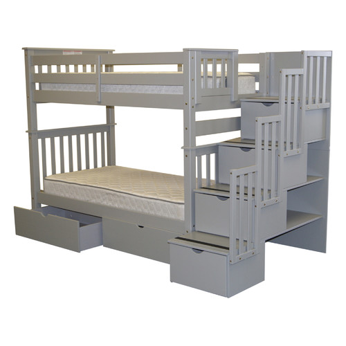 Bedz King Tall Stairway Bunk Bed Twin over Twin with 4 Drawers in