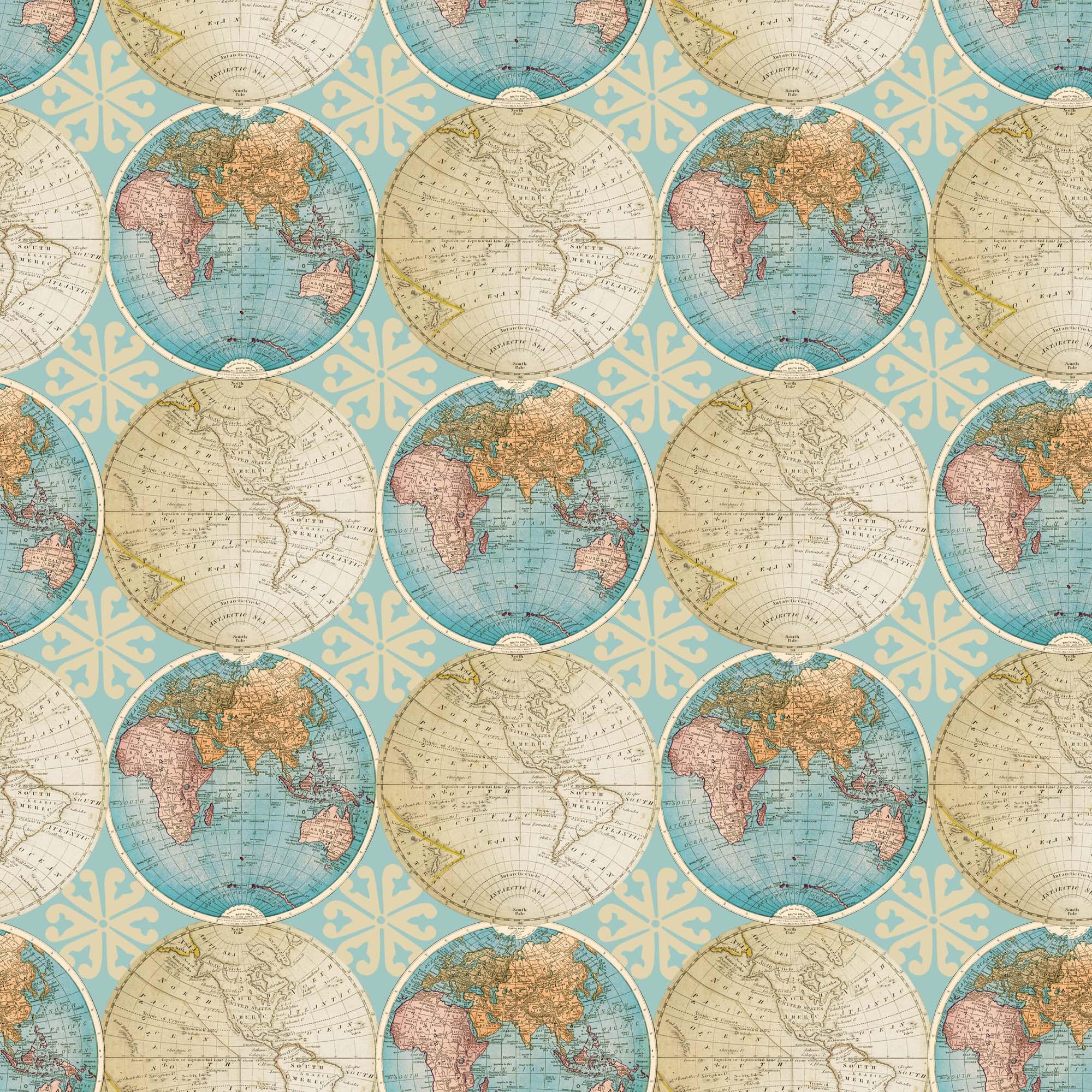 "David Textiles Cotton Pre-Cut 36"" x 44"" Vintage Globes Fabric, 1 Each"