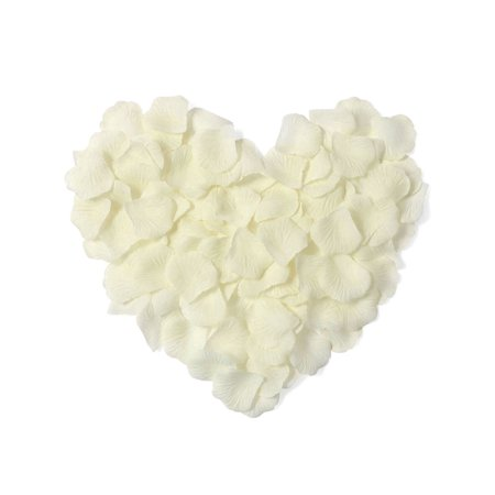 Pack of 1000 Pcs Artificial Silk Rose Petals for Wedding Decoration, Ivory
