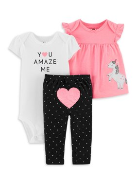 Child of Mine by Carter's Baby Girl Shirt, Bodysuit & Pant Outfit, 3pc Set