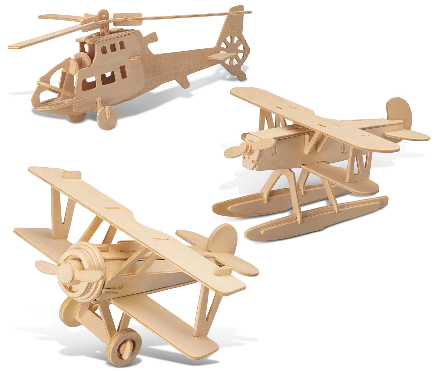 Puzzled Water Plane, Chopper and Nieuport 17 Wooden 3D Puzzle Construction Kit by Puzzled Inc