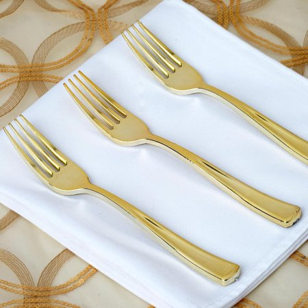 BalsaCircle 25 pcs Gold Plastic Forks - Wedding Reception Party Buffet Catering Tableware Food Display (Caviar Fork)