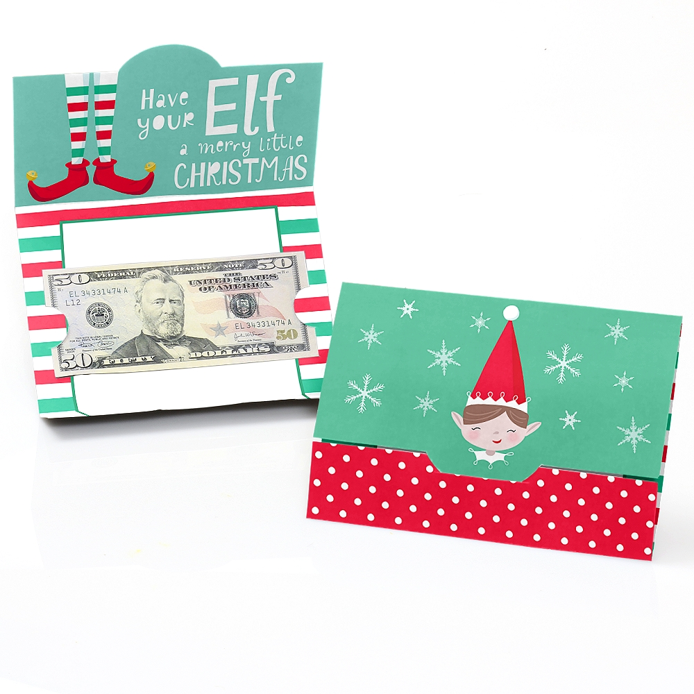 Elf Squad - Kids Elf Christmas and Birthday Party Money And Gift Card Holders - Set of 8