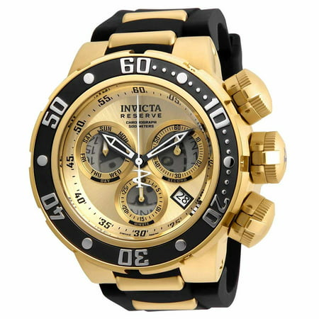 Invicta Men's 21641 Reserve Gold Dial Yellow Gold Steel and Silicone Strap Chronograph Dive