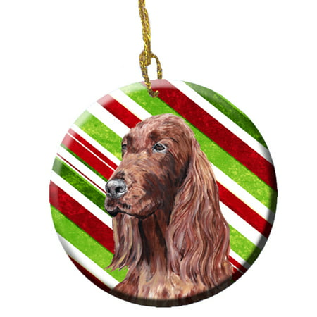 Irish Setter Candy Cane Christmas Ceramic Ornament