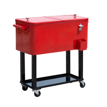 Outsunny 80 qt. Rolling Ice Chest Portable Patio Party Drink Cooler Cart Rolling Party Cooler