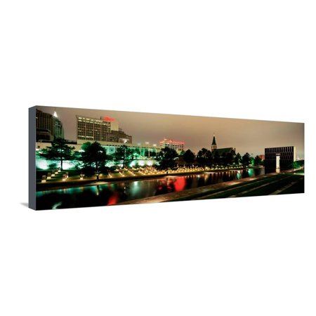 Memorial Lit Up at Dusk, Oklahoma City National Memorial, Alfred P. Murrah Federal Building Stretched Canvas Print Wall Art By Panoramic Images