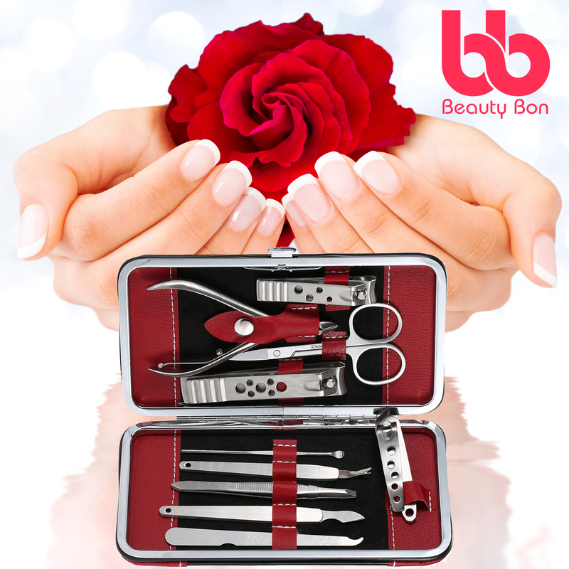 Manicure, Pedicure Kit, Nail Clippers Set of 10, Stainless Steel Manicure Tools Kit with Portable Travel Case, All in One Beauty Care Tools, By Beauty Bon