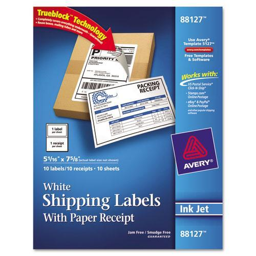 Avery 88127 Shipping Labels with Paper Receipt, 5 1/16 x 7 5/8, White, 10/Pack