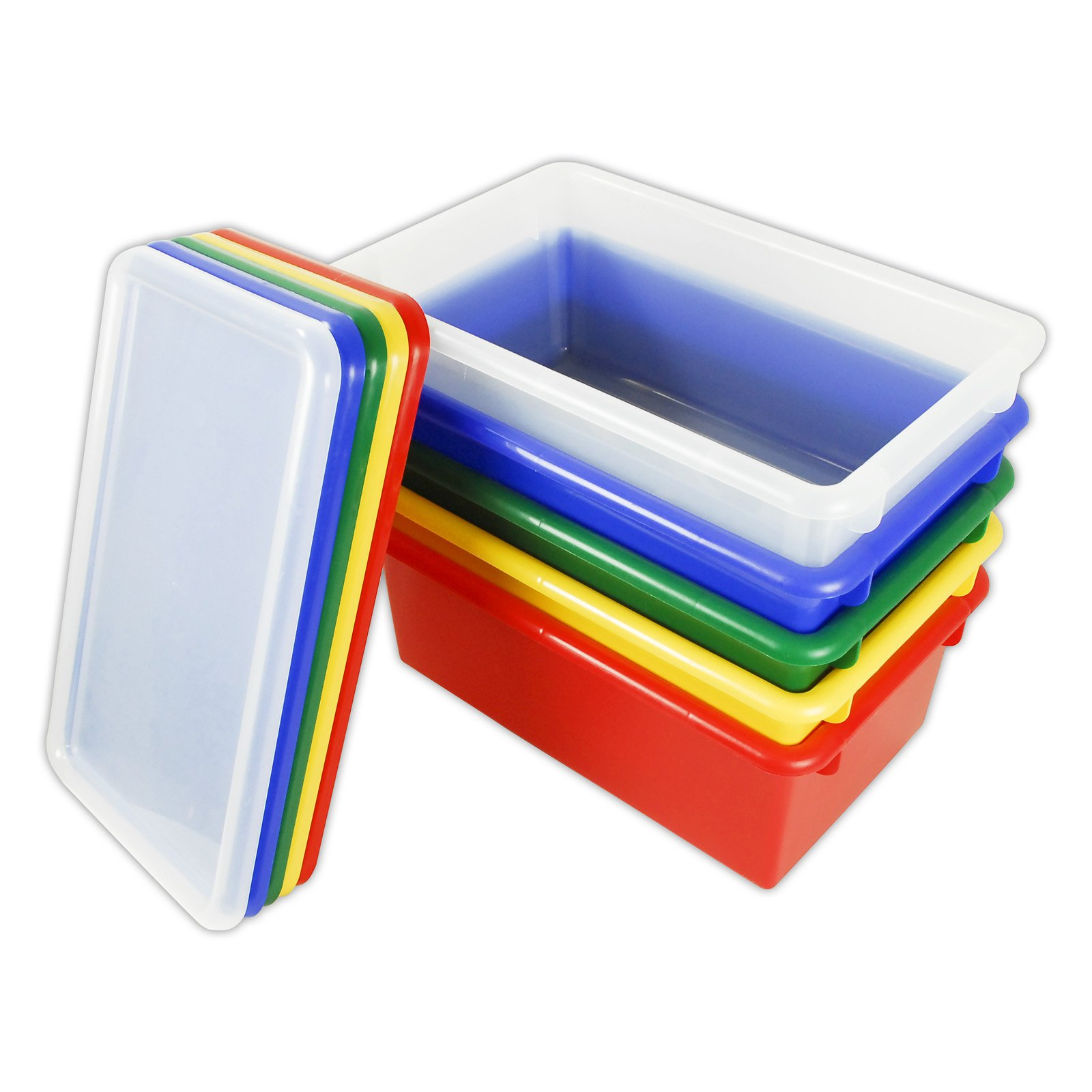 ECR4KIDS Primary Tote Bins with Lids- 12 Pack