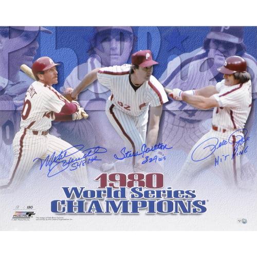 "Pete Rose, Steve Carlton, and Mike Schmidt Philadelphia Phillies Fanatics Authentic Autographed 16"" x 20"" 1980 World Series Horizontal Photograph with Multiple Inscriptions - No Size"