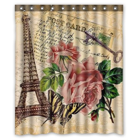 ZKGK Paris Eiffel Tower Waterproof Shower Curtain Bathroom Decor Sets With Hooks 60x72 Inches