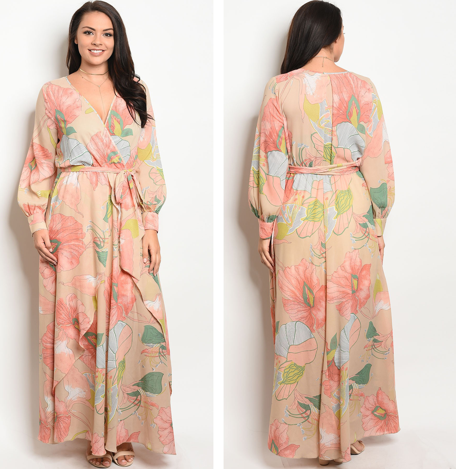 e6ca20e6b98 Floral Chiffon Maxi Dress Plus Size - Gomes Weine AG
