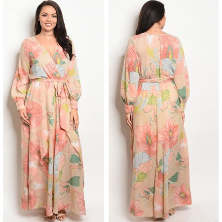 583cfd00fe35 JED FASHION - JED FASHION Women's Plus Size V-Neck Long Sleeve Chiffon  Floral Maxi Dress - Walmart.com