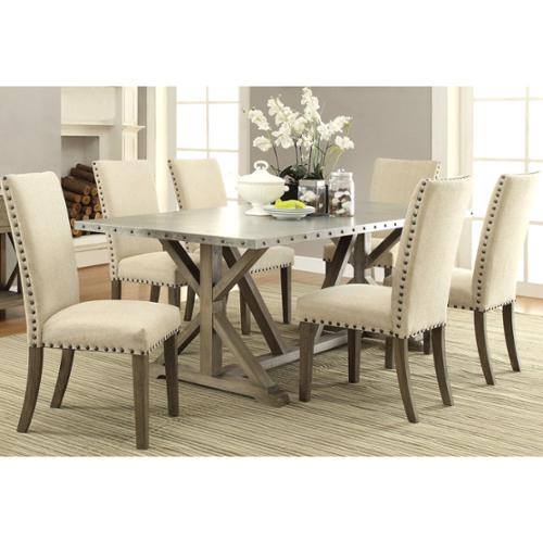 A Line Furniture Rosemarin Transitional Driftwood and Metal Dining Set
