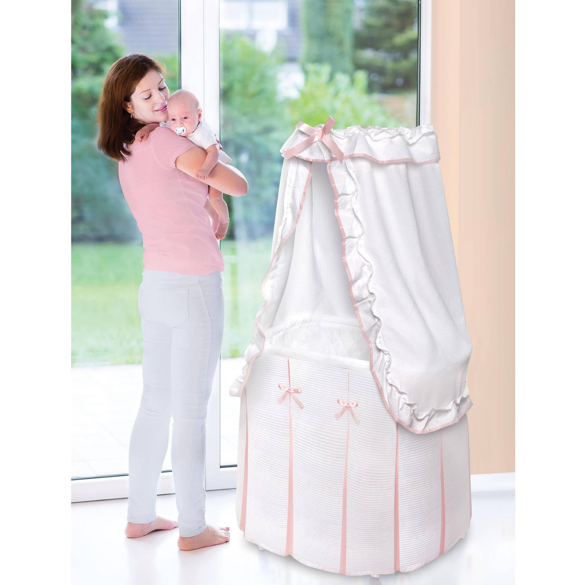 Badger Basket Majesty Baby Bassinet with Canopy, White and Pink Bedding