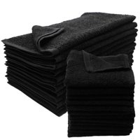 "GHP 24-Pcs Black 16""x27"" Cotton Blend Terry Cloth Hotel Spa Salon Gym Hand Towels"