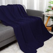 """100% Cotton Cross Cable Knit Throw Blanket For Sofa Couch Bed Home Bedding, Navy Blue 47""""x 70"""""""