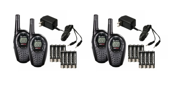 Click here to buy 4) COBRA CXT225 MicroTalk 20 Mile GMRS FRS 22 Channel 2-Way Radio Walkie Talkies by Cobra.