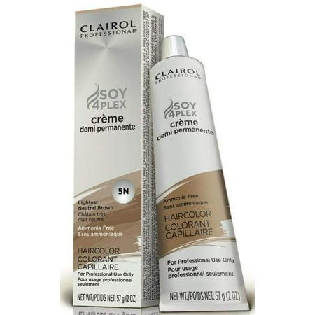 Professional 5N Lightest Neutral Brown Demi Permanent Hair Color 5N Lightest Neutral Brown, Deep conditioning soyWalmartplex formula By