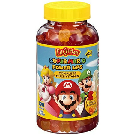 Lil Critters Super Mario Power Ups Complete Multivitamin Gummies, Natural Fruit Flavors 190 ea (Pack of