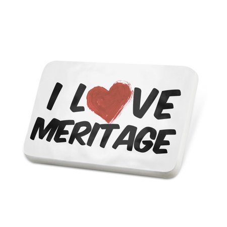 Porcelein Pin I Love Meritage Wine Lapel Badge   Neonblond