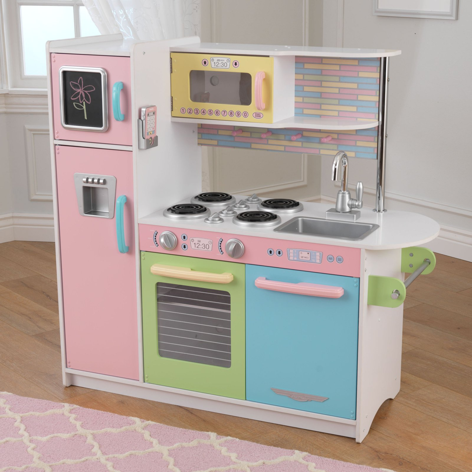 KidKraft Kids Wooden Uptown Pastel Pretend Play Toy Kitchen Pink Cooking Playset by KidKraft