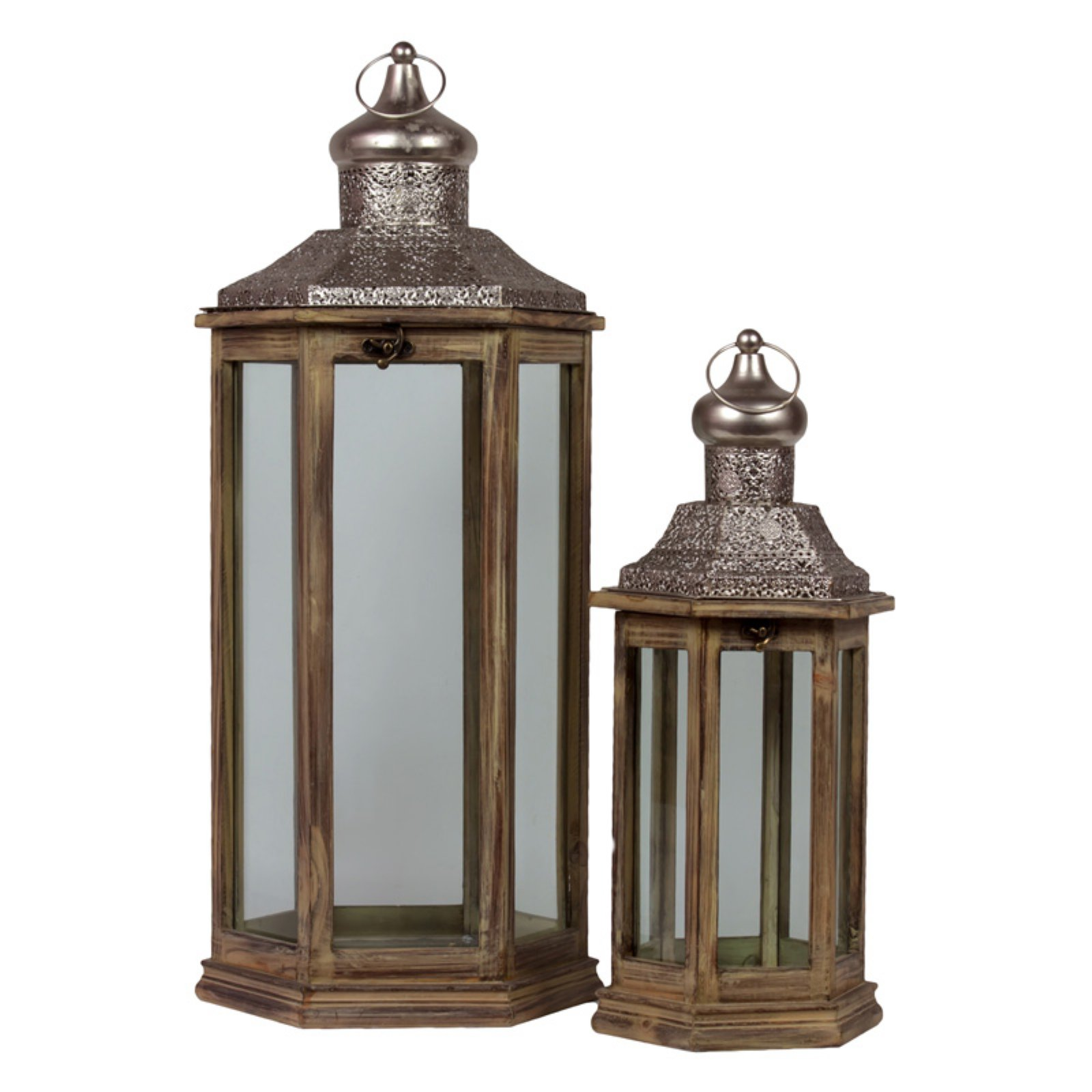Urban Trends Collection: Wood Hand Lantern, Natural Wood Finish, Brown