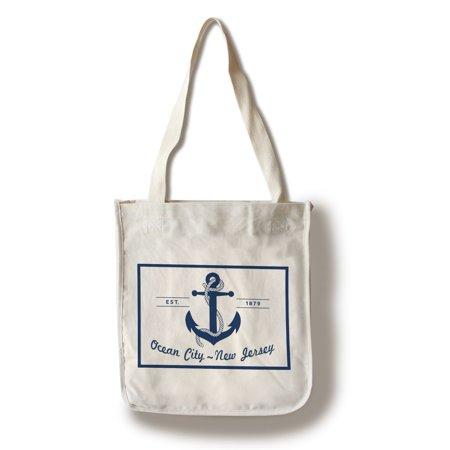 Ocean City, New Jersey - Blue & White Anchor - Lantern Press Artwork (100% Cotton Tote Bag - Reusable)