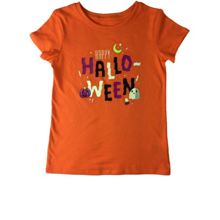 Corn Girls (Infant Toddler Girls Orange Happy Halloween Ghost Pumpkin Candy Corn Tee)