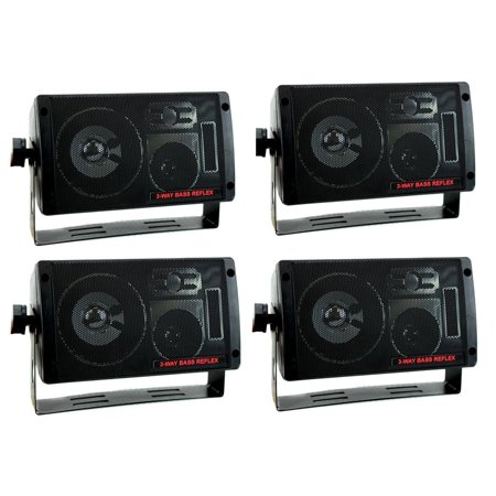 4) NEW PYRAMID 2060 600W 3-Way Car Audio Mini Box Speakers Stereo Indoor System ()