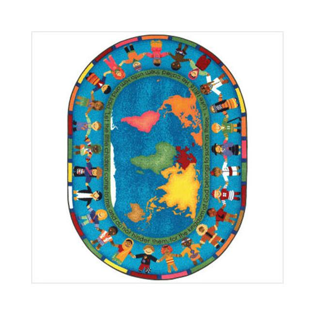 """Joy Carpets Kid Essentials - Inspirational Area Rugs Let the Children Come, 5'4"""" x 7'8"""" Oval, Multicolored"""