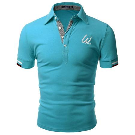 Doublju Men's Casual Short Sleeve Polo T-shirt