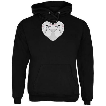 Halloween Heart Shaped Ghosts Black Adult Hoodie - Halloween Beating Heart App