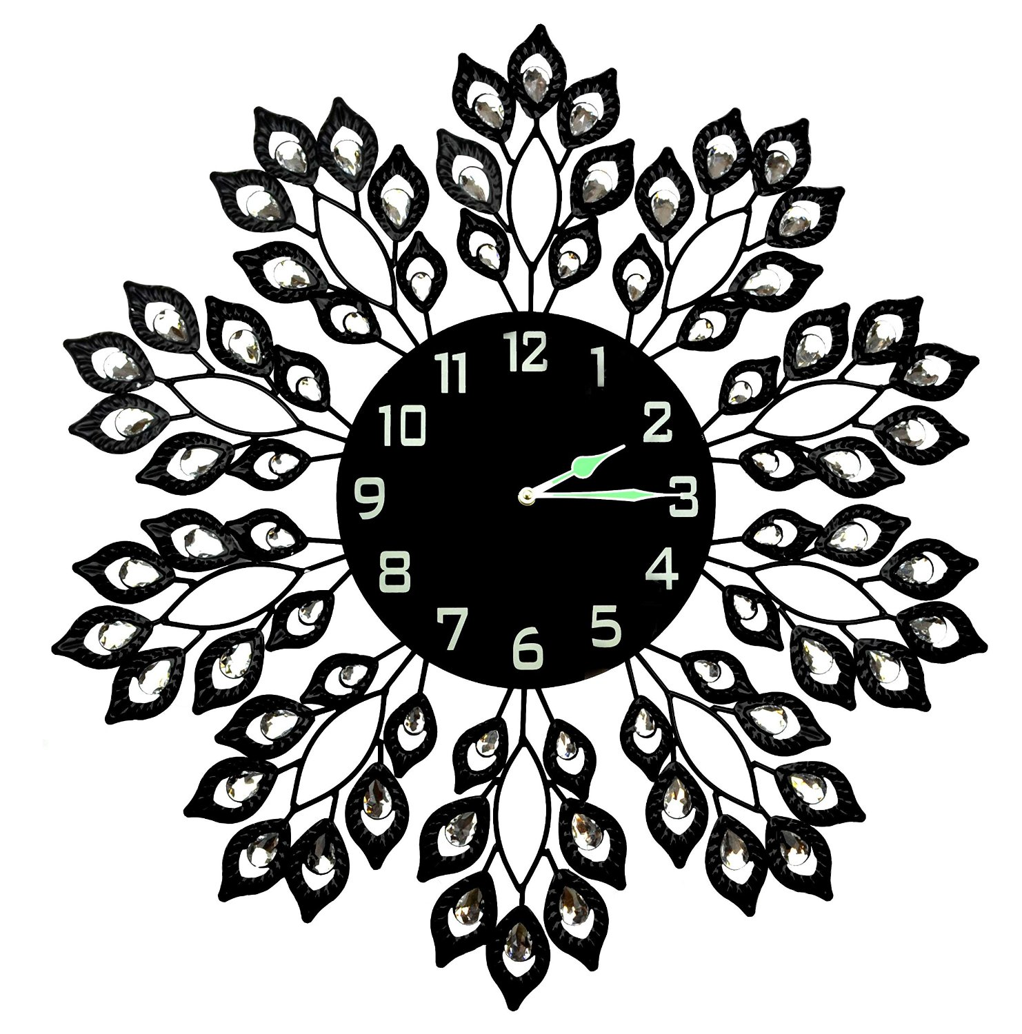 Lulu Decor Decorative Black Leaf Metal Wall Clock, Black Glass Dial in Arabic Numerals,... by