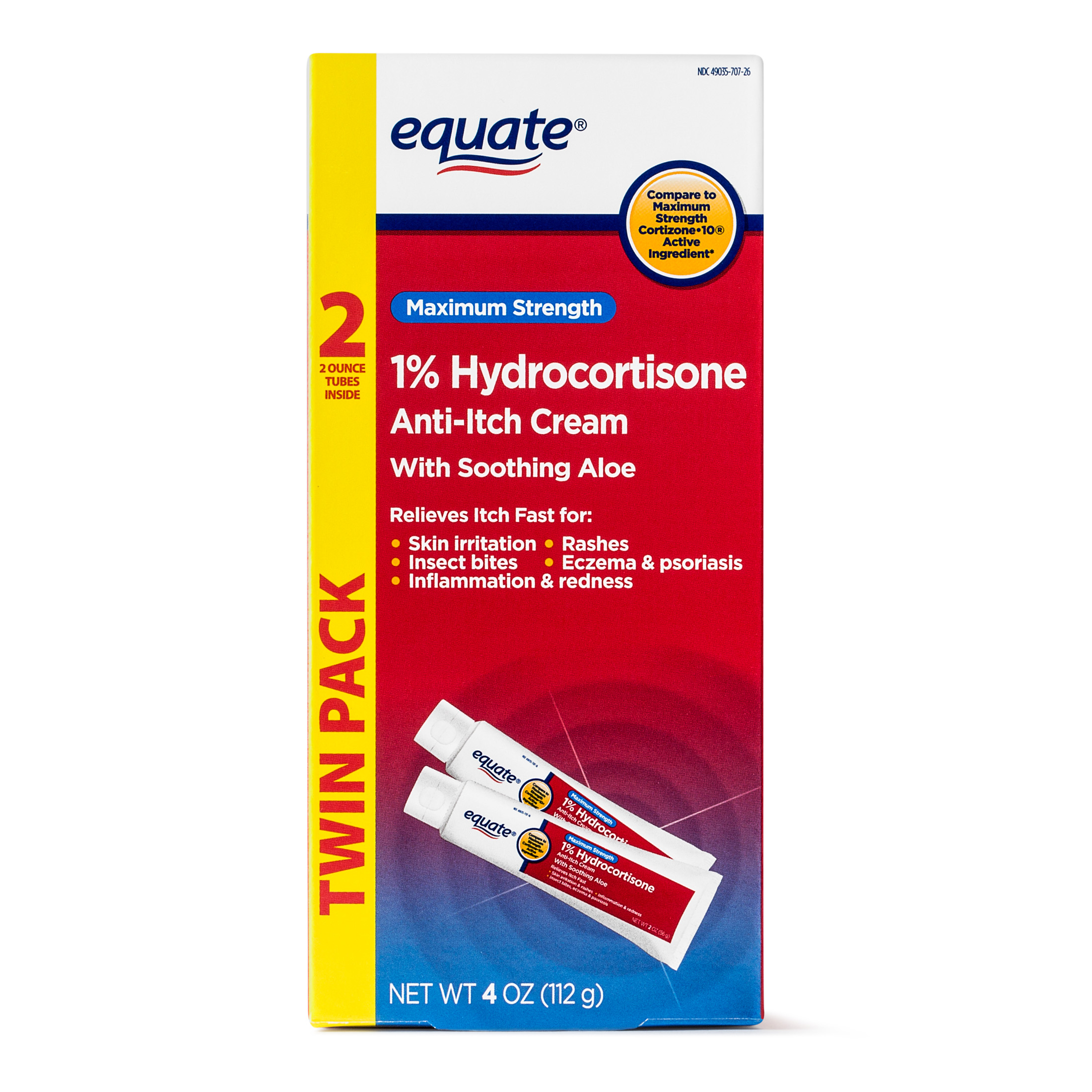 Equate Maximum Strength Anti-Itch Hydrocortisone Cream, 2 Oz, 2 Pk