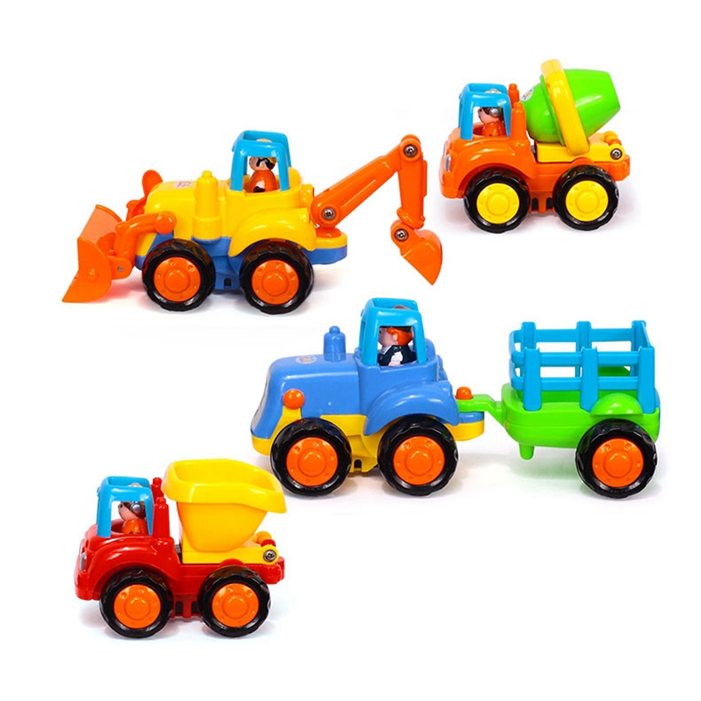 Redcolourful Happy Engineering Vehicles Cartoon Friction Powered Push and Go Vehicles for Toddlers (Dumper, Cement... by
