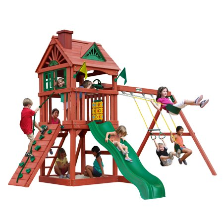 Gorilla Playsets Nantucket Wooden Swing Set with 2 Belt Swing, Trapeze Bar, and Working Shudders