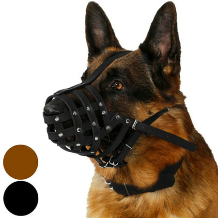 CollarDirect Dog Muzzle German Shepherd Leather Secure Basket, Black (Dog Basket Muzzle)