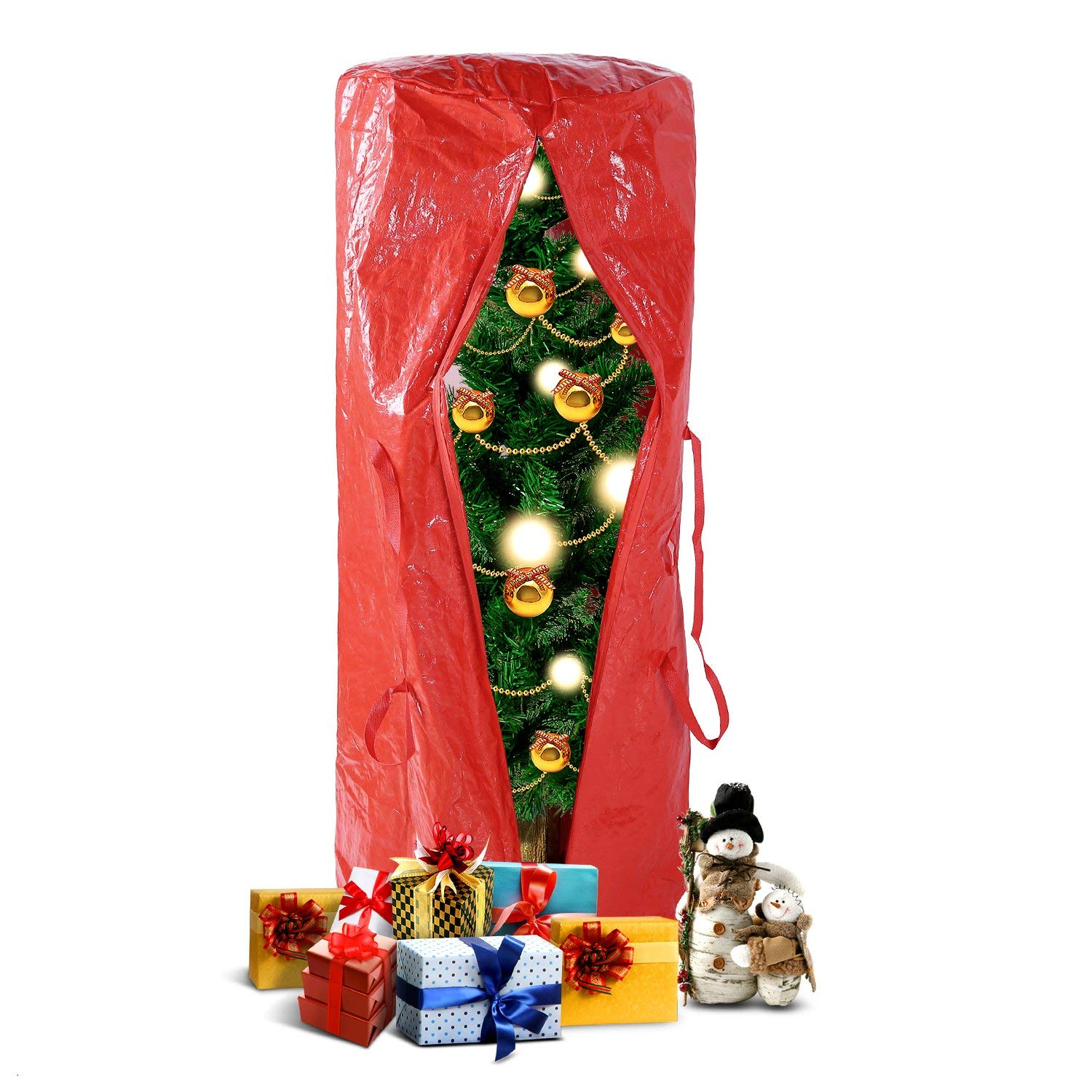 Ohuhu Christmas Tree Storage Bag For 5 Foot Tree or 9 Foot Disassembled Christmas Tree, Red (5.2' x 2.1' x 2.1')